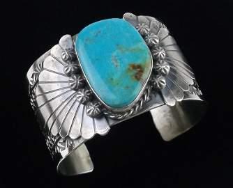 Huge Navajo Rick Enricuez Sterling Turq Cuff Bracelet