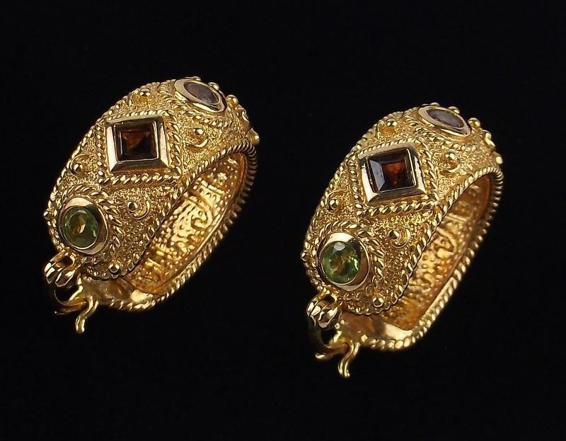 New Heavy Gold Over Sterling Amethyst Earrings Peridot
