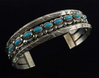 Stunning 1950s BELL Turquoise Cuff Bracelet
