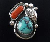 Navajo SK Emerson Sterling Turquoise Coral Pin 1960s