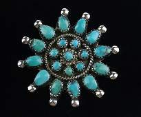 Mint 1960s Navajo Sterling Turquoise Sun Brooch