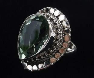 New Heavy Bali Sterling 18ct Aquamarine Ring 7