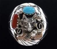 Big Navajo Grace Smith Sterling Turq Cor Wolf Ring 12