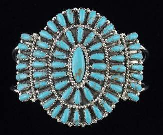Navajo Pamela Benally Sterling Turquoise Cuff Bracelet