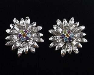 New Boxed Sterling Genuine Gemstone Earrings Flower