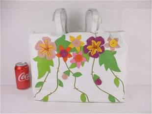 New Large Leather Floral Handbag Purse
