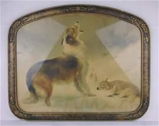 1902-07 Collie Dog Lamb Art Nouveau Print Framed