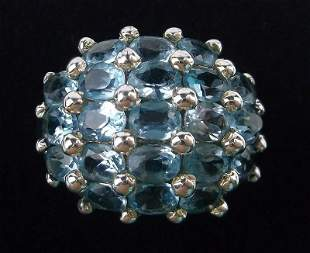 New Boxed Sterling Silver Blue Topaz Ring Size 7
