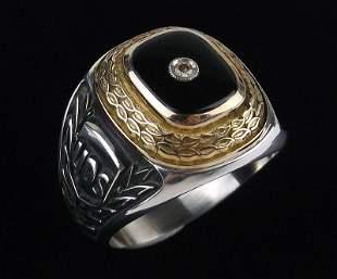 Rare UPS Sterling Silver 10kt Gold Diamond Ring 13