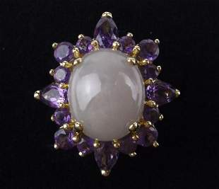 New Boxed 14kt Gold Jade Amethyst Ring Size 6