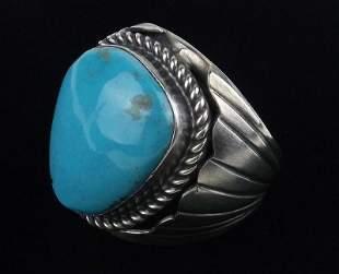 Huge Navajo Tony Yazzie Sterling Turquoise Ring 11