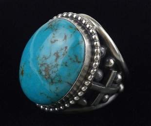 Giant Navajo Tony Yazzie Sterling Turquoise Ring 12