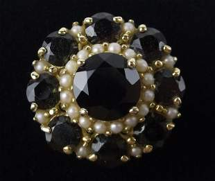 New Boxed 14kt Gold Garnet Pearl Ring Size 6
