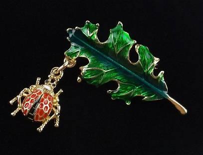 Mint Enameled Ladybug on Leaf Brooch