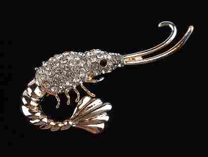 Mint Enameled Rhinestone Shrimp Brooch