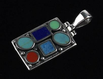 Stunning Sterling Silver Turquoise Coral Lapis Pendant