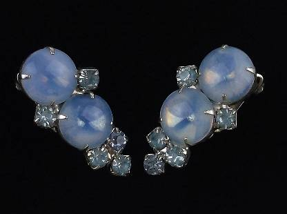 Stunning Antique 1950s Rhinestone Drop Earrings