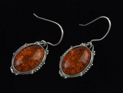 Stunning Vintage Sterling Silver Amber Drop Earrings
