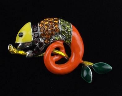 Mint Enameled Rhinestone Chameleon Brooch