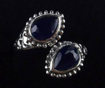 New Sterling Silver Blue Stone Bypass Ring 6-7 Adjust