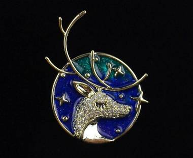 Mint Enameled CZ Mythical Stag Brooch