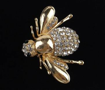 Big Mint Enameled Rhinestone Bee Insect Brooch