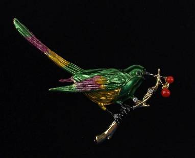 Mint Enameled Rhinestone Bird on Branch Brooch