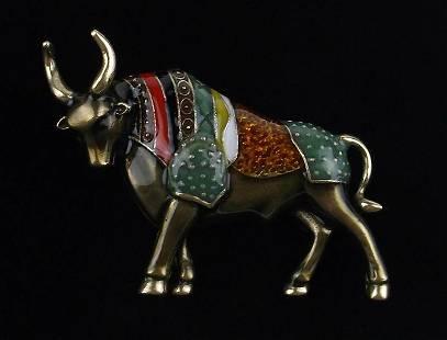 Mint Enameled Rhinestone Bull Brooch