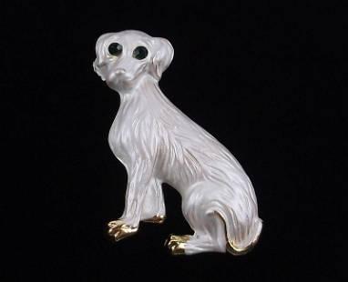 Mint Enameled Rhinestone Dog Brooch