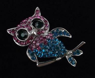 Mint Enameled Rhinestone Owl Brooch