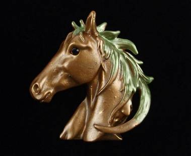 Mint Enameled Rhinestone Horse Brooch