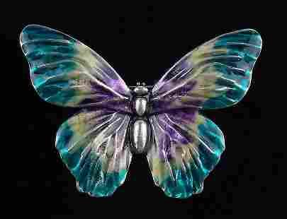 Mint Enameled Butterfly Brooch Life Size