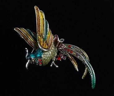 Mint Enameled Rhinestone Bird of Paradise Brooch