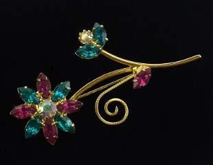 Mint Vintage Enameled Rhinestone Flower Brooch