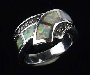 Stunning Boxed Sterling Silver Opal Ring 7 Heavy