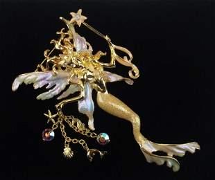 New Boxed Kirks Folly Sea Fairy Brooch Large