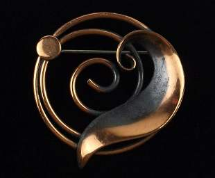 Stunning 1960s Bell Copper Brooch