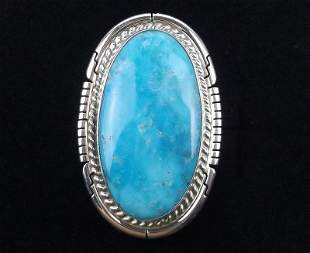 Big Navajo Dave Skeets Sterling Sky Blue Turq Ring 7