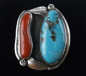 Big 1960s Navajo Tully Sam Sterling Turq Coral Ring 6.5
