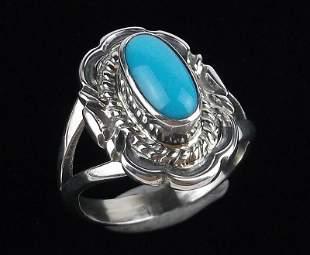 Navajo Virgil Chee Sterling Sleeping Beauty Turq Ring 7