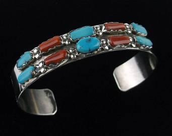 Zuni Fi Cheama Sterling Turquoise Coral Cuff Bracelet