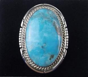 Navajo Dave Skeets Sterling Sky Blue Turquoise Ring 9