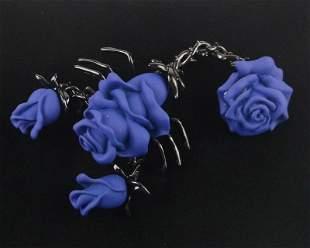 Big Mint Enameled Blue Rose Scorpion Brooch