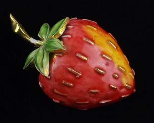Mint 1960s Hattie Carnegie Strawberry Brooch Enameled