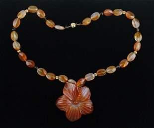 "New 14kt Gold Calcite Plumeria Necklace 20"" Flower"