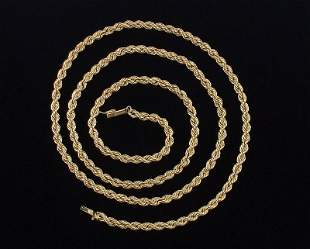 """HUGE HEAVY 14kt Gold Rope Chain Necklace 30.5"""" Inch"""