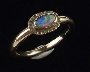 Vint Navajo 14kt Gold Fire Opal Ring Size 6 Hand