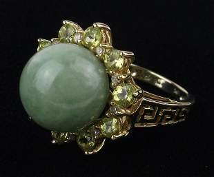 New Boxed 14kt Gold Jade Diamond Peridot Ring 6
