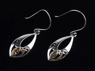 New Sterling Silver Citrine Drop Earrings