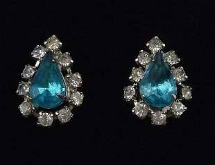 Stunning 1950s Rhinestone Teardrop Earrings